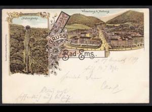 AK Litho Bad Ems 1899 Malbergbahn nach Lingen (17171