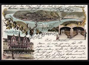 AK Litho Grüsse aus Boppard Hotel Zum Hirsch 1898 nach Lingen (17175