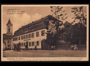 AK Singhofen Taunus Nassau Gasthof Minor Zum Goldenen Brunnen (17179