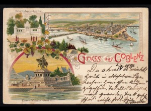 AK Litho Gruss aus Coblenz Deutsches Eck 1897 (17183