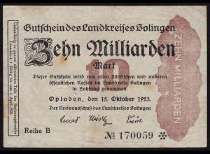 Rheinland - Solingen 10 Milliarden Mark 1923 Notgeld Landkreis (15372