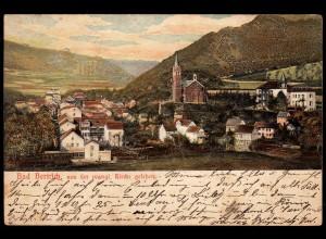 AK Litho Bad Bertrich Eifel seltener erhabener Prägedruck der Gebäude 1904