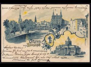 AK Litho Gruss aus Barmen 1899 nach Riede/Fritzlar (17232