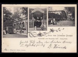 AK Schwelm Schwelmer Brunnen Restaurant Bergischer Hof 1909 Bahnpost (17273
