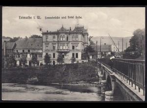 AK Letmathe Hotel Bohe und Lennebrücke 1912 (17274
