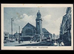 AK Hagen Hauptbahnfof Bahnhof Strassenbahn 1918 (17278