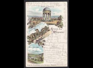 AK Litho Wiesbaden 1899 nach Fritzlar Riede Kreis Wolfhagen (17313