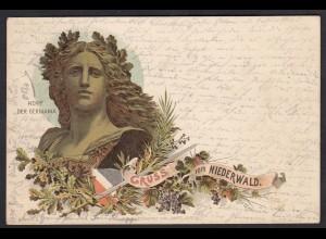 AK Litho Rüdesheim Kopf der Germania Niederwald-Denkmal 1896 (17330