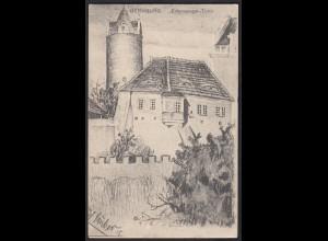 AK Kunstkarte signiert Bernburg Eulenspiegel-Turm Feldpost (17400