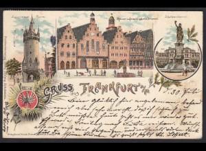 AK Litho Frankfurt a. M. Römer u. Gerechtigkeits Brunnen (17408