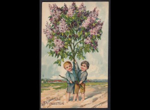 AK Frohe Pfingsten 1912 Prägedruck Kinder Blumen (17477