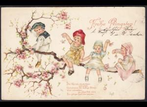 AK Frohe Pfingsten 1907 Prägedruck Blumen-Kinder Gedicht (17478