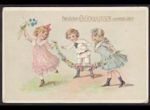AK Glückwunsch zum Neuen Jahre 1912/13 Prägedruck Kinder Blumen (17480