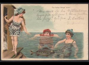 AK Scherzkarte 1910 Frauen Schwimmen Fisch (17479