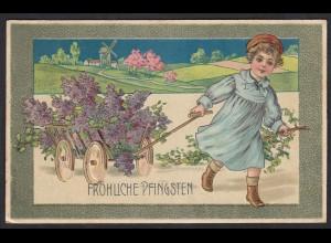 AK Fröhliche Pfingsten Prägedruck Kinder Blumen 1909 (17483