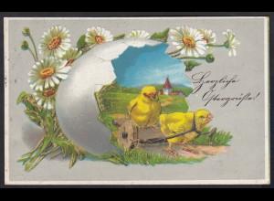 AK Prägekarte Herzliche Ostern Grüße 1917 Küken Blumen (17486