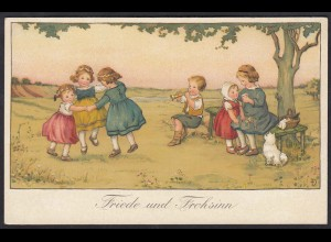 AK Kunst Postkarte Friede und Frohsinn Kinder (17493