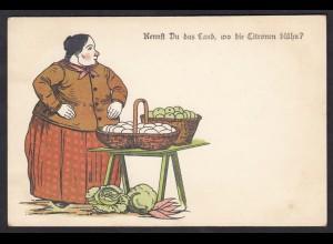 AK Karikatur Obst Gemüse Eier Frau (17501