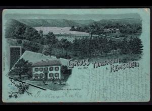 AK Mondschein-Silber-Litho Gruss von der Thalsperre b. Remscheid 1900 (17245
