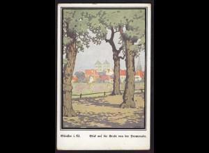 AK Münster Westfalen Kunstkarte Stadt von Promenade signiert Sydow (16848