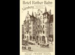 Werbekarte Hotel Rother Hahn Königstrasse Nürnberg (1875