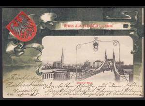 AK Frankfurt a. M. Jugendstil 1901 Eiserner Steg v. Sachsenhausen (17434