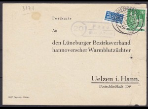Karte Posthilfstelle/Landpost Päse über Gifhorn nach Uelzen (4311