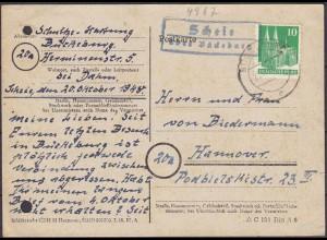 Karte Posthilfstelle/Landpost Scheie über Bückeburg 1948 (4394