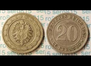 20 Pfennig Kaiserreich 1887 A Jäger 6 (m394
