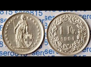 Schweiz - Switzerland 1 Franken Silber-Münze 1964 (m950