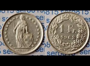 Schweiz - Switzerland 1 Franken Silber-Münze 1963 (m949