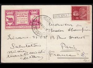 1925 Posta Aerea Volo Livorno Original-Vignette auf Karte nach Paris (17622