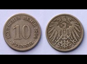 10 Pfennig 1896 E Deutsches Kaiserreich Empire Jäger Nr. 13 (17719