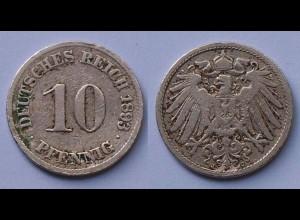 10 Pfennig 1893 J Deutsches Kaiserreich Empire Jäger Nr. 13 (17722