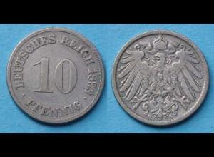 10 Pfennig 1893 G Deutsches Kaiserreich Empire Jäger Nr. 13 (17723