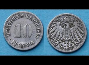 10 Pfennig 1893 F Deutsches Kaiserreich Empire Jäger Nr. 13 (17724