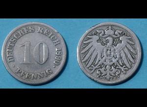 10 Pfennig 1890 F Deutsches Kaiserreich Empire Jäger Nr. 13 (17728