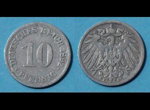10 Pfennig 1892 E Deutsches Kaiserreich Empire Jäger Nr. 13 (17733