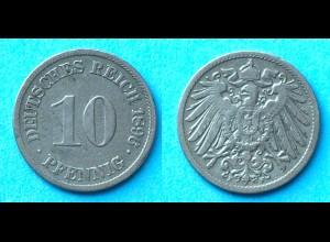 10 Pfennig 1896 F Deutsches Kaiserreich Empire Jäger Nr. 13 (17736