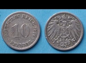 10 Pfennig 1899 D Deutsches Kaiserreich Empire Jäger Nr. 13 (17742