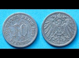 10 Pfennig 1899 G Deutsches Kaiserreich Empire Jäger Nr. 13 (17746