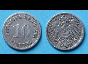 10 Pfennig 1901 G Deutsches Kaiserreich Empire Jäger Nr. 13 (17748