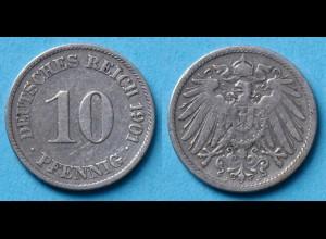 10 Pfennig 1901 J Deutsches Kaiserreich Empire Jäger Nr. 13 (17749