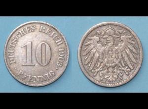 10 Pfennig 1903 J Deutsches Kaiserreich Empire Jäger Nr. 13 (17754
