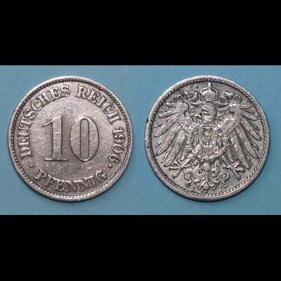 10 Pfennig 1906 J Deutsches Kaiserreich Empire Jäger Nr. 13 (17760