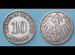 10 Pfennig 1909 J Deutsches Kaiserreich Empire Jäger Nr. 13 (17761