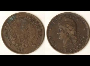 Argentinien Argentina Dos (2) Centavos Münze 1891 (9548