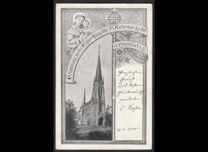 AK Erinnerung an Einweihung der St. Antonius Kirche in Frankfurt 1900 (17438