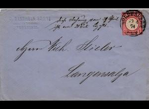 DR Deutsches Reich Nordhausen nach Langensalza 29-4-1874 1 Gr. Brief Vollstempel