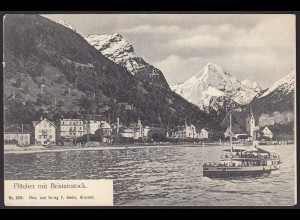 AK Flüelen mit Bristenstock Schiff Schweiz (12240